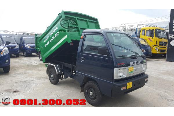 Giá xe chở rác mini suzuki truck 500kg - xe ép rác suzuki 500 kg thùng 2 khối