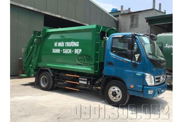 Xe cuốn ép rác Thaco Ollin 500.E4 thùng 6 khối