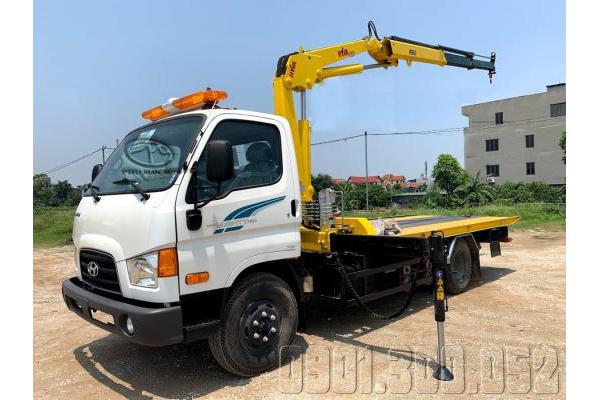 Xe cứu hộ sàn trượt Hyundai 110SP gắn cẩu gấp Hyva HB60 3 tấn